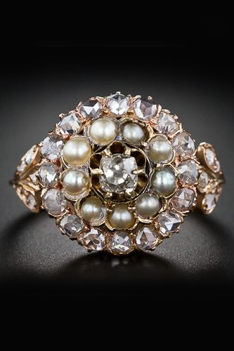 Victorian Diamond and Pearl Cluster Ring: Pearls Cluster, Rose Cut Diamond, Victorian Diamonds, Pearls Diamonds Rings Vintage, Cluster Rings, Lang Antiques, Antiques Rings, Antiques Victorian, Engagement Rings