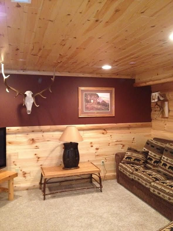Tongue and groove paneling log home rustic log cabin for Log cabin with basement