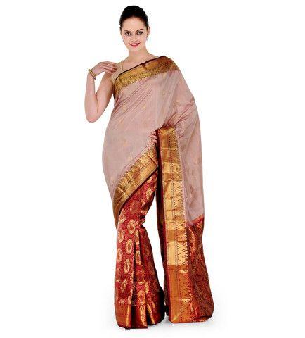 Fawn Silk Kanjeevaram Saree | Fabroop