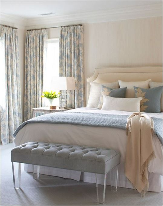 Adorable Cream Beach Style Bedroom Ideas Also Blue And White Curtains Color  With Floral Pattern Also Cream Padded Headboard Also White Pillowcase And   55 best Blue   Cream Bedroom Ideas images on Pinterest   Home  . Cream Bedroom Ideas. Home Design Ideas