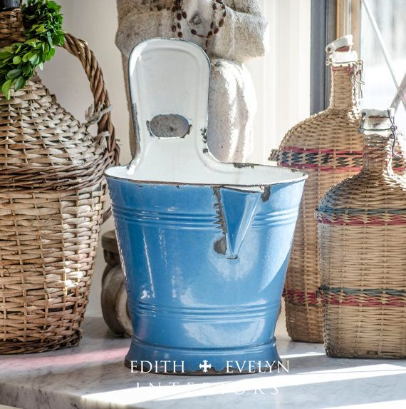 Antique French Milk Bucket Blue Enamel Directly by edithandevelyn