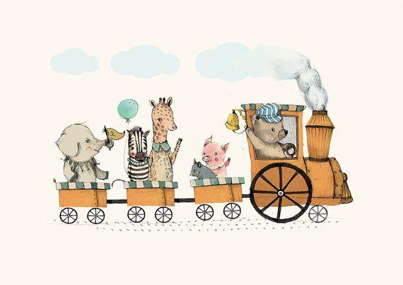 Train animal party Boy Art Holli Nursery Wall Art by holli