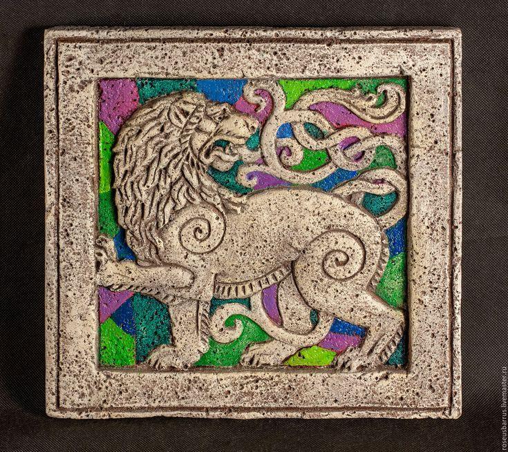 Купить Лев панно - комбинированный, лев, лева, знак зодиака лев, керамика ручной работы