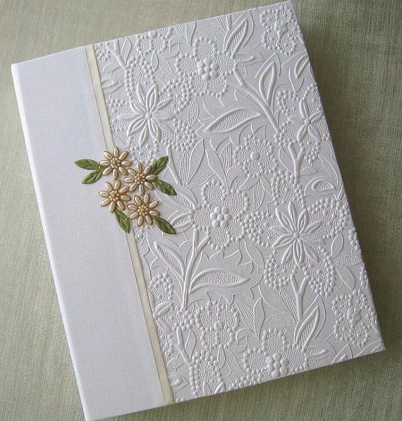 8x10 Wedding Albums: Wedding Photo Album White Floral Embossed With