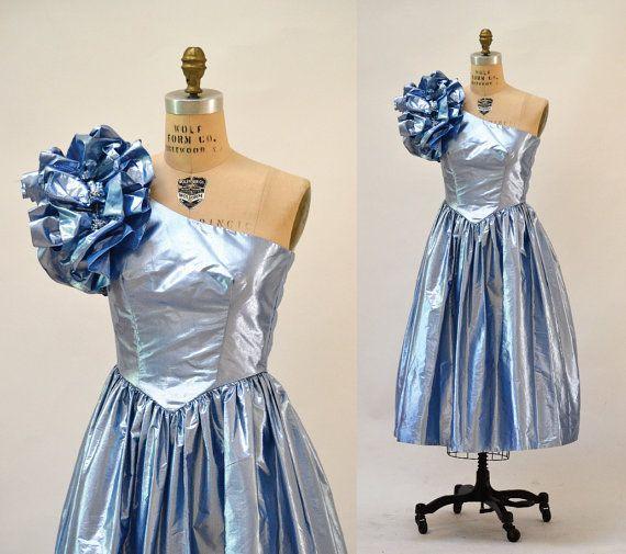 80s Metallic Prom Dress Size XS Small Blue Silver by Hookedonhoney