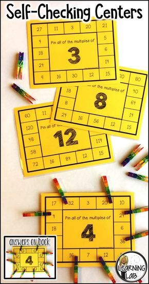 Multiplication practice with this multiples of numbers self-checking math center. Independent practice with the answers on the back!