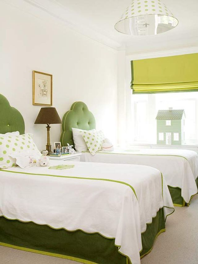 White Bedroom with Green Headboards: Decor, Idea, Polka Dots, Romans Shades, White Bedrooms, Twin Beds, Green Headboards, Guest Rooms, Upholstered Headboards