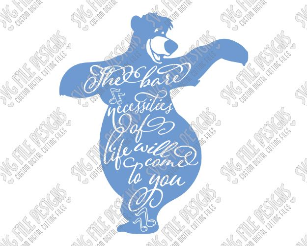 Baloo Silhouette Disney Word Art Cut File Set in SVG, EPS, DXF, JPEG, and PNG