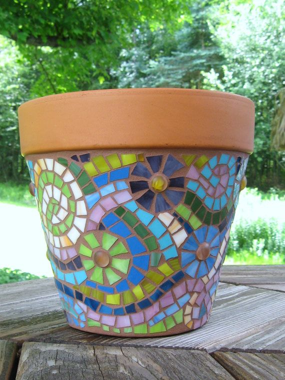 Mosaic Flower Swirl Planter by valleybeadglassart on Etsy, $55.00