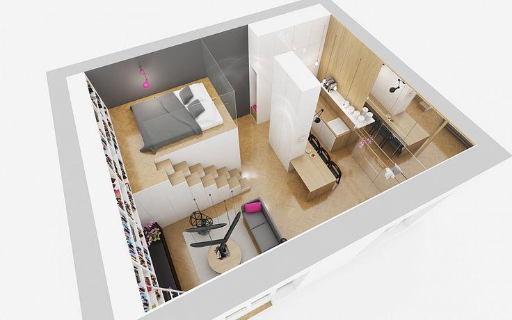 Vamos a analizar los planos en 3D y diseño de interiores de un pequeño departamento que tiene forma cuadrada, el dormitorio ubicado en el entrepiso y una confortable sala y cocina con isla, todo e…