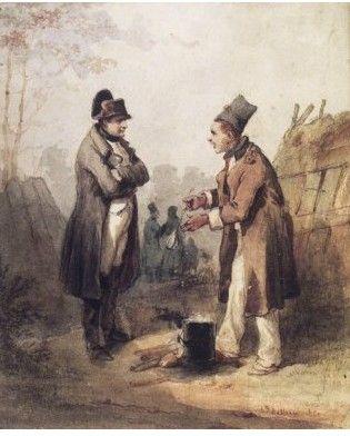 Jean-Louis Hippolyte Bellangé: Napoléon parlant avec un soldat.