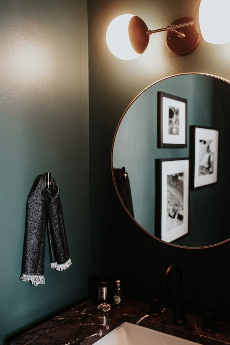 Dark Green Powder Room Reveal