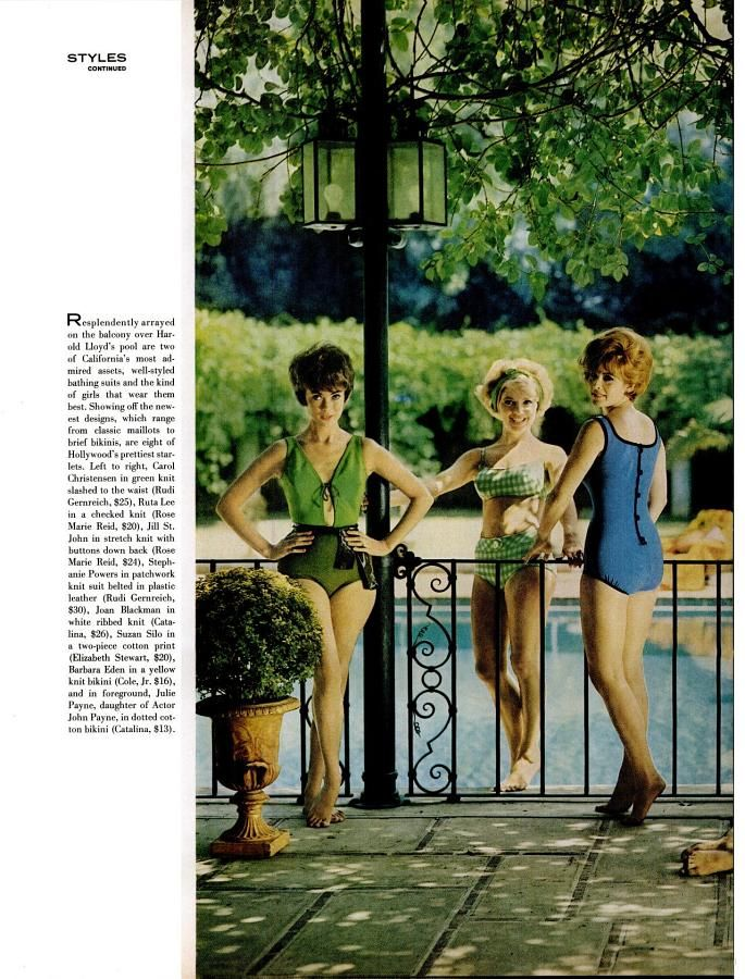 Carol Christensen, Ruta Lee, Jill St. John, Stephanie Powers, Joan Blackman modeling swimsuits (1962)