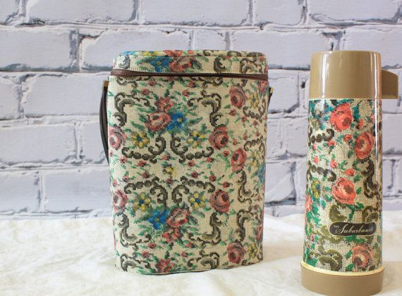 Aladdin Thermos SUBURBANITE with Original Case or Lunch Box /// Digital Floral Embroidery Print  FREE SHIPPING on Etsy, $45.00