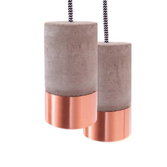 Concrete Lamp with Copper an Textile Cable Light Switch by TWOBOLD