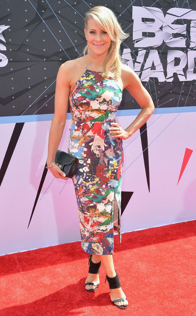 Brittany Daniel from 2015 BET Awards: Red Carpet Arrivals  The actress adds a pop of color (or two) to the red carpet in this slim-fitting, multihued halter dress.