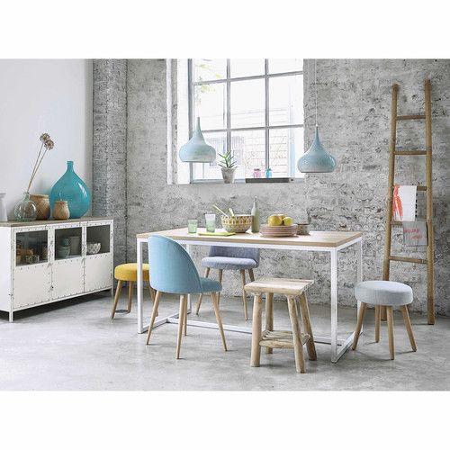 Table à manger en métal et bois blanche L 150 cm