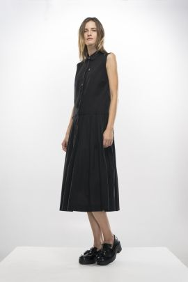 Black dress with shirt collar | Adelina Ivan Studio