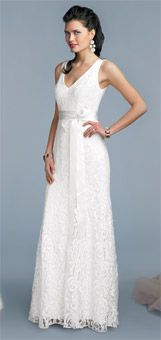 Ivory guipure lace and satin dress with trumpet skirt, $600, by Sandals Destinations Wedding Gowns by the Dessy Group, dessy.com
