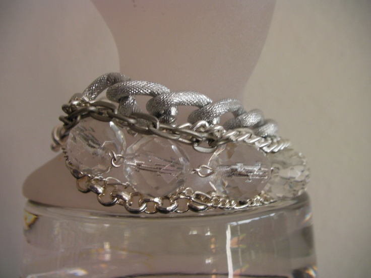 Cuff, silver chains and crystals