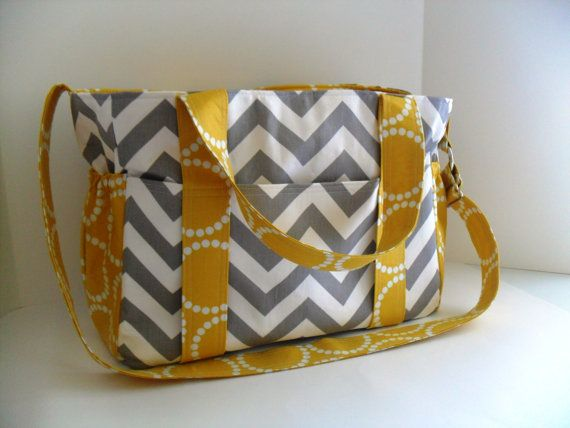 Extra Large Diaper bag Made of Grey and White Chevron by fromnancy,