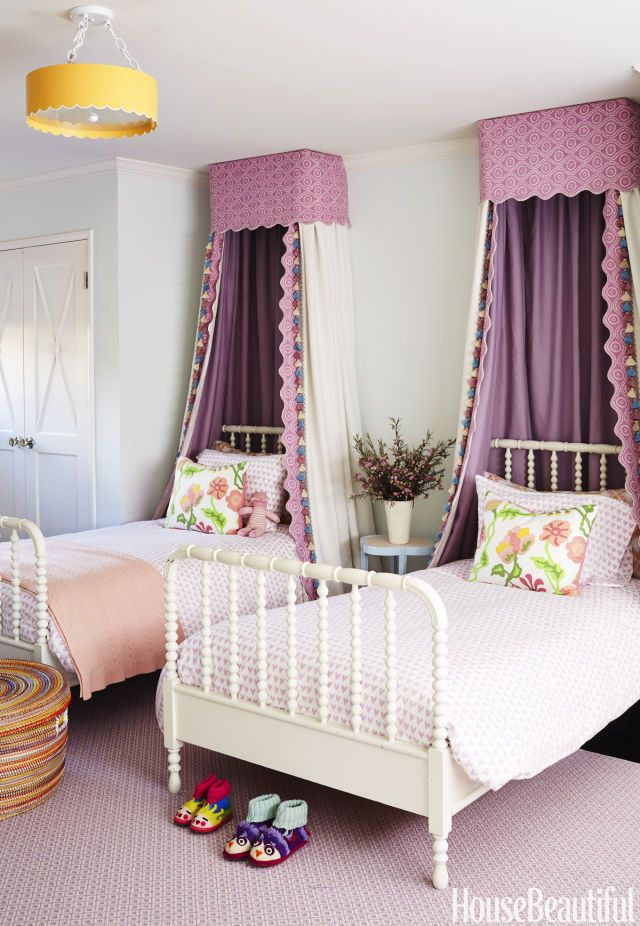 girls' bedroom with canopies //  throw pillows in Alan Campbell's Potalla // walls in Benjamin Moore's Sea Foam