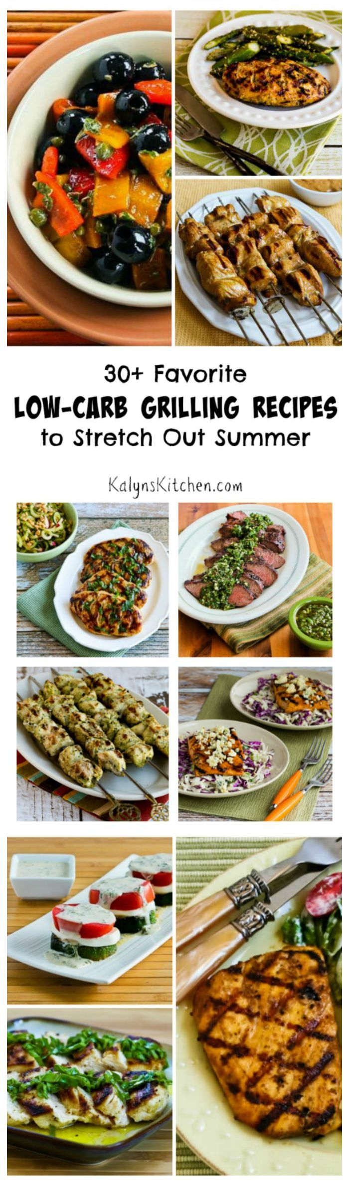 Even after Labor Day there are lots of warm evenings for grilling, so here are 30+ Low-Carb Grilling Recipes to stretch out Summer. All these recipes are low-carb and gluten-free and most are Paleo or can be with minor changes. [from KalynsKitchen.com]