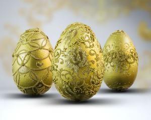 Złote pisanki wielkanocne ręcznie robione - komplet