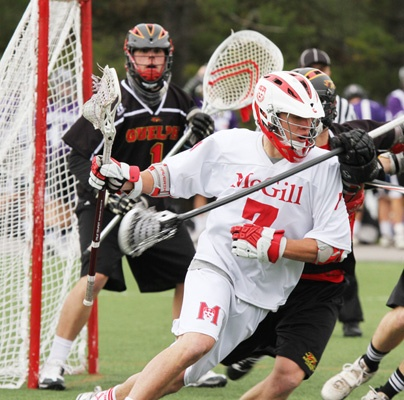 Jishan Sharples scored twice in a semi-final Canadian university field lacrosse game against Guelph University Nov. 3. He scored two more in the championship final.