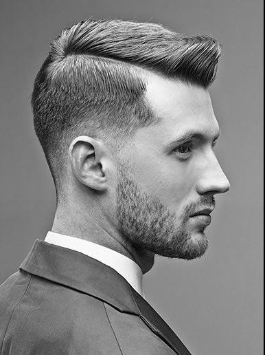 Short hair cut for man, shorter side with a clear and defined part, longer on the top. // Coiffure homme, dégradée, court sur le côté, plus long sur le dessus, avec raide profonde et nette sur le côté.
