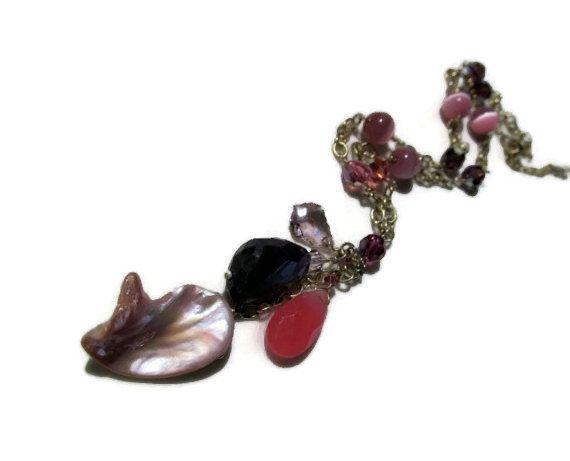 Multi-gemstone necklace, Multi gemstone necklace, pink gemstone necklace, 14k gold filled, Pink chalcedony, amethyst, MOP, Swarovski