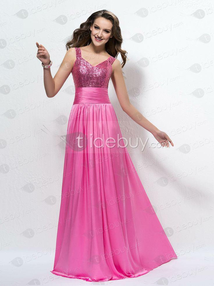 AラインVネックストラップシークイン床まで届く長さイブニングドレス
