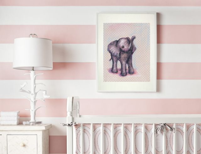 How sweet is this baby elephant print from @JennyDaleDesigns?! We love it in a soft pink or blue nursery! #nursery #walldecor