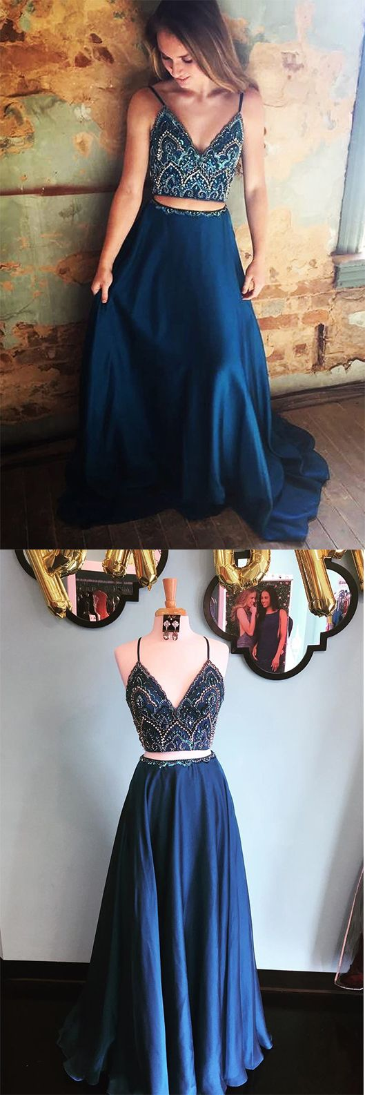 Sparkly Prom Dresses,Two Piece Prom Dress,Beading Prom Dresses,Navy Blue Prom Gown,Long Prom Dress #blue #beading #twopieces #aline #vneck #okdresses