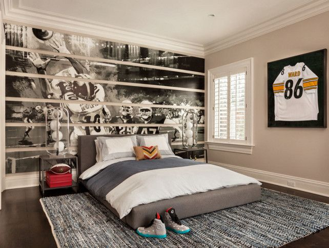 Kids MuralFootball Themed Bedroom. Bedroom Ideas. Kids Bedroom Mural.  #KidsMural # Design