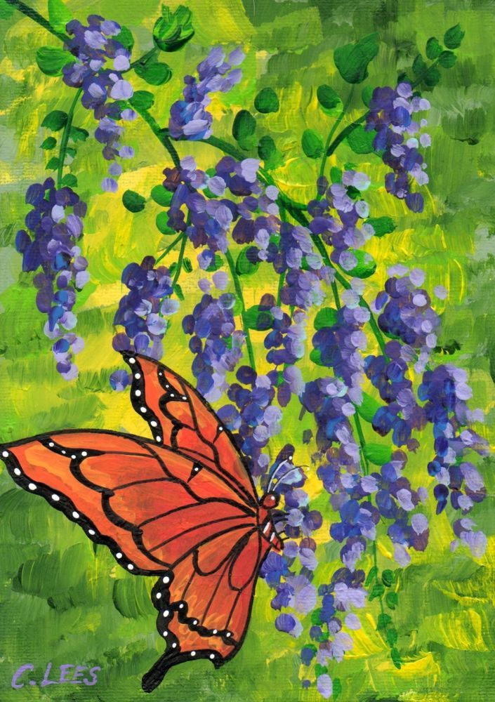 "5""x7"" Original Acrylic Painting, Butterfly Among Wisteria ..."