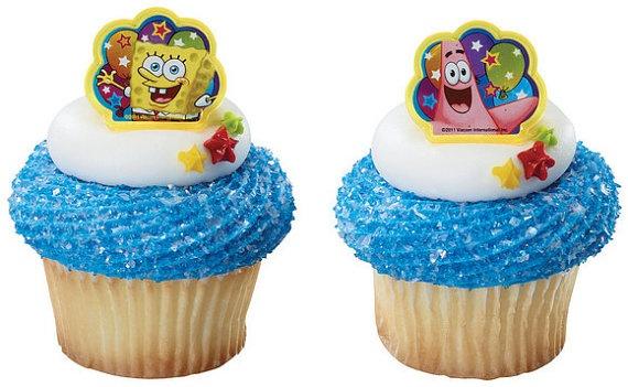 SpongeBob cupcake decorations 12 by sofiabakerysupply on Etsy, $3.49