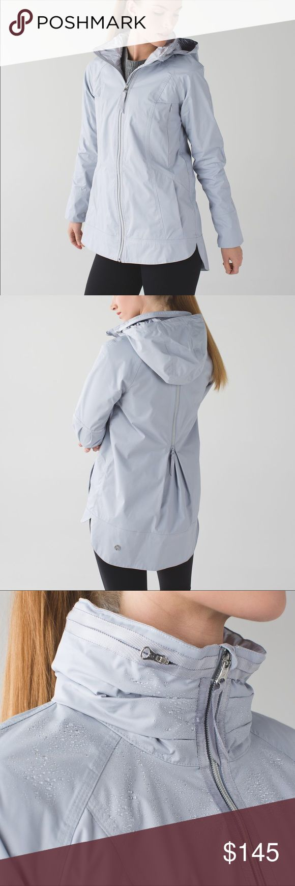 Lululemon Fo Drizzle - Silver Fox Aka Rain Supreme. EUC except for that the packable hood was previously cut out of the zip collar pouch. Collar looks like last stock photo when zipped, just doesn't have hood inside as normal. Price reflects this so no low balls. Will accept 🅿️🅿️ or select trades. lululemon athletica Jackets & Coats