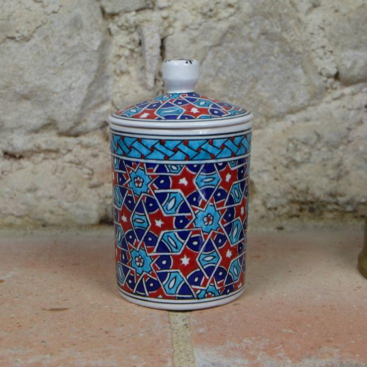 Petit #pot en #céramique au #décor #oriental bleu, rouge et turquoise. #Décoration originale !