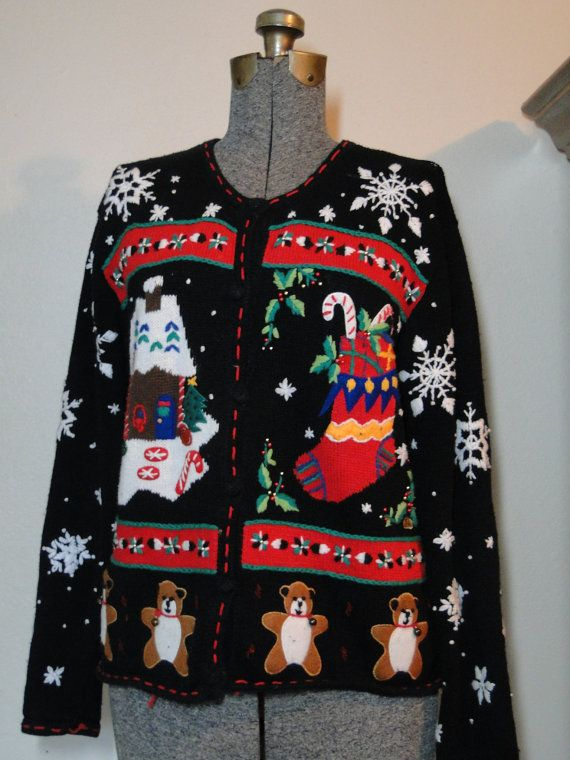 Ugly Christmas Sweater Cardigan Cheap Jumper by ABetterSweaterShop, $20.99