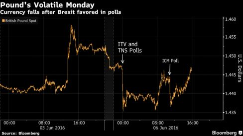 Pound Falls, Volatility Jumps as Polls Show Momentum for Brexit - Bloomberg