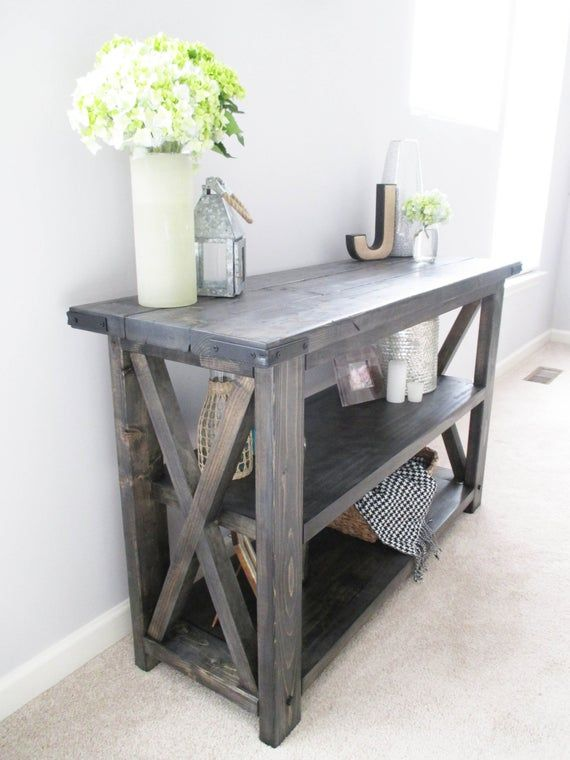 Rustic X Distressed Handmade Console / Media Table / Bookshelf – 48″ L