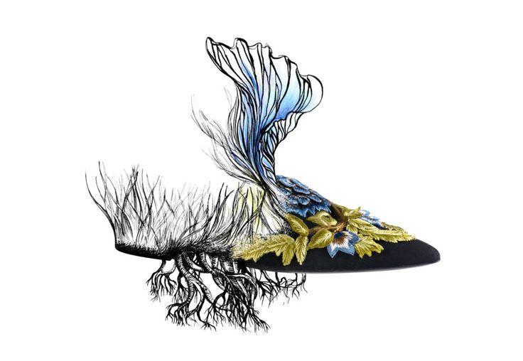 My #surreal version of #MiaMule by #AlbertaFerretti #elenaborghi #drawing #illustration #sketch #fashion #shoes #fw1617