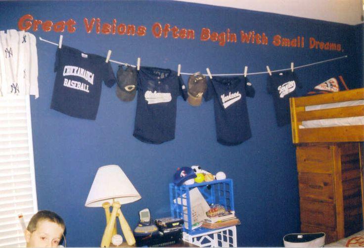 hanging baseball jerseys on one wall football banquet pinterest baseball jerseys boy. Black Bedroom Furniture Sets. Home Design Ideas