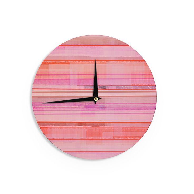 "CarolLynn Tice ""Starwberry Shortcake"" Pink Stripes Wall Clock"