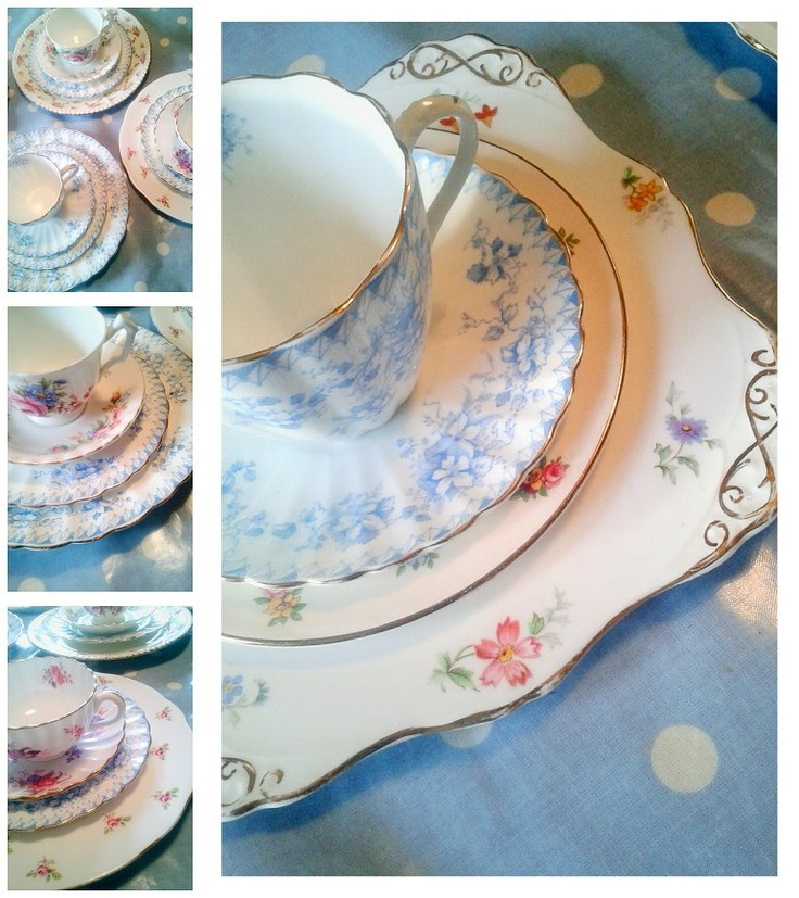 Pretty table settings by Itsy Bitsy Vintage.