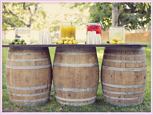 Truck Party Ideas: lemonade stand on barrels