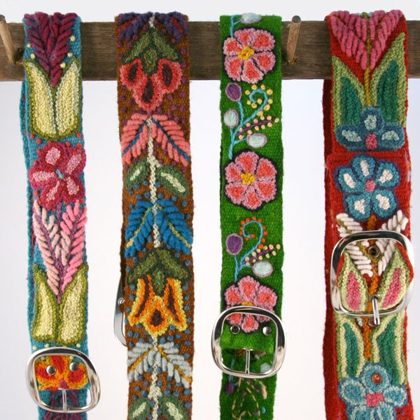 Hand-Embroidered Belts from Peru  Aren't they simply gorgeous?!