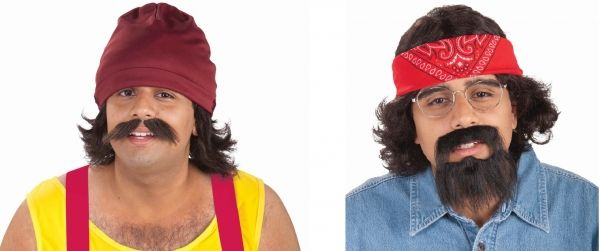 """Adult Cheech Marin and Tommy Chong Kits - Costume Accessory  For Halloween, go up in smoke as the funny Padro de Pacas """"Cheech"""" or the hilarious """"Man"""" Chong!  The Cheech Costume Kit includes a red beanie cap and a brown wig and fake mustache cut in the style of Padro de Pacas.  The Chong Costume Kit includes gold rimmed clear lens glasses, a red bandana and an easy self-application brown wig and fake beard cut in the style of Anthony""""Man"""" Stoner."""