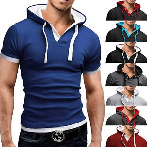 New Mens Casual Style Fashion Short Sleeve Hooded T-Shirt Slim Fit POLO Shirt